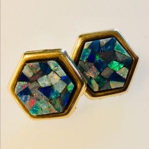 14k Designer Opal Mosaic Post Earrings